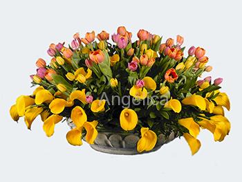 Arreglo de Tulipanes y Alcatraces Amarillos