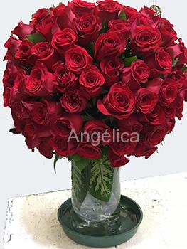 Arreglo Rosas con base de cristal