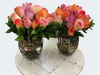 Florero Bouquet de Rosas con Florero