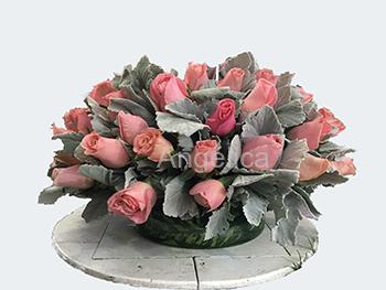Arreglo Rosas con Base redonda de Cristal