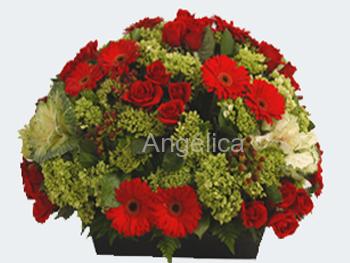 Hortensias Rosas y Gerberas Rojas