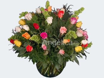 Arreglo Pecera de Rosas de Colores