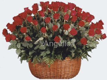 Canasta Rosas Gigantes Rojas